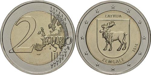 Lieferumfang:Lettland : 2 Euro Zemgale  2018 bfr