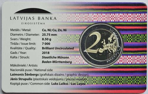 Zertifikat:Lettland : 2 Euro Zemgale  2018 Stgl.