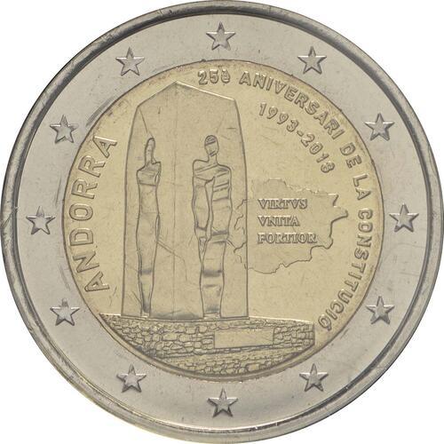 Rückseite :Andorra : 2 Euro  25. Jahrestag der Verfassung von Andorra  2018 Stgl.