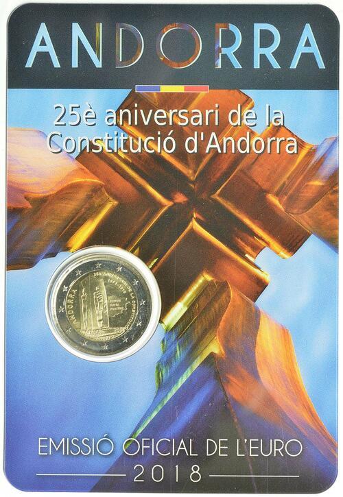Lieferumfang :Andorra : 2 Euro  25. Jahrestag der Verfassung von Andorra  2018 Stgl.