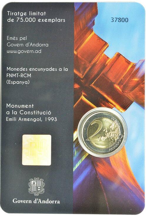 Zertifikat :Andorra : 2 Euro  25. Jahrestag der Verfassung von Andorra  2018 Stgl.