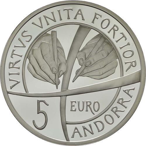 Rückseite :Andorra : 5 Euro 25. Jahrestag der Verfassung von Andorra  2018 PP