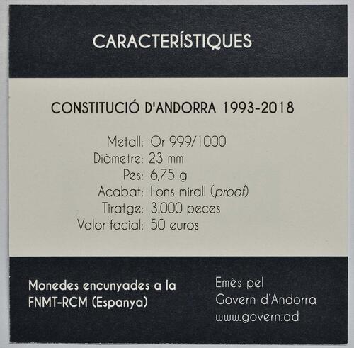 Zertifikat :Andorra : 50 Euro 25. Jahrestag der Verfassung von Andorra  2018 PP