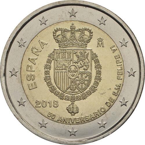 Rückseite:Spanien : 2 Euro 50. Geburtstag von König Felipe VI  2018 bfr