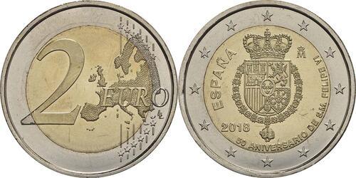 Lieferumfang:Spanien : 2 Euro 50. Geburtstag von König Felipe VI  2018 bfr