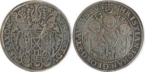 Lieferumfang :Deutschland : 1 Reichstaler Christian III, Joh. Georg I und August 1591 - 1601 patina, winz. Kratzer 1595 vz.