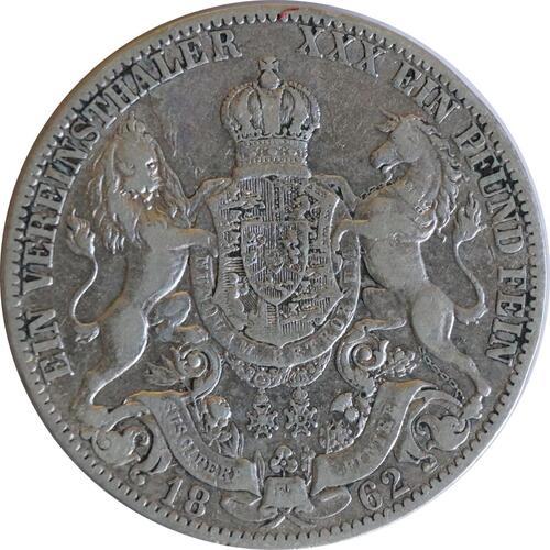 Vorderseite:Deutschland : 1 Vereinstaler   1862 f.ss