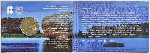 Rückseite:Estland : 2 Euro 100 Jahre Republik Estland  2018 Stgl.