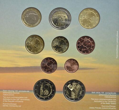 Zertifikat:Estland : 7,88 Euro KMS Estland mit 2 x 2 Euro Gedenkmünzen  2018 Stgl.
