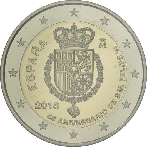 Rückseite:Spanien : 2 Euro 50. Geburtstag von König Felipe VI   2018 PP