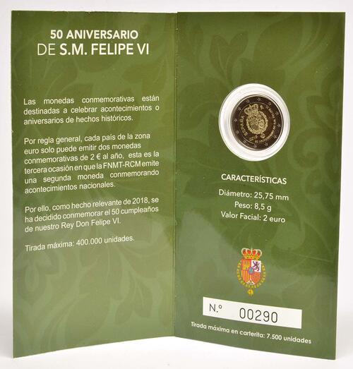 Lieferumfang:Spanien : 2 Euro 50. Geburtstag von König Felipe VI   2018 PP