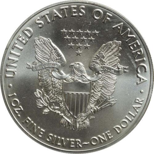 Rückseite:USA : 1 Dollar Silber Eagle - 60 Jahre NASA - Apollo  2018 Stgl.