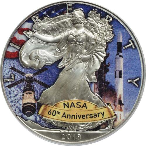 Vorderseite:USA : 1 Dollar Silber Eagle - 60 Jahre NASA - Apollo  2018 Stgl.