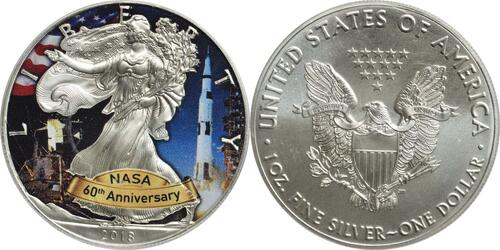 "Lieferumfang :USA : 1 Dollar Silber Eagle - 60 Jahre NASA ""Skylab  2018 Stgl."
