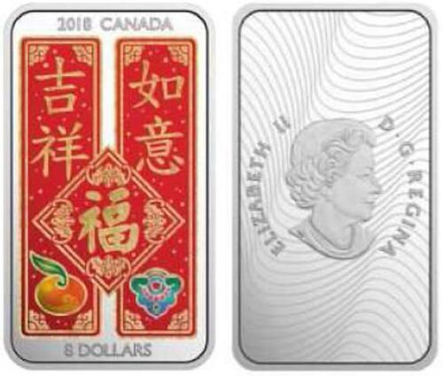 Lieferumfang :Kanada : 8 Dollar Chinesische Segenswünsche - Barrenform  2018 PP
