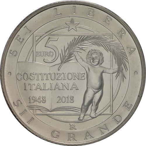 Rückseite:Italien : 10,88 Euro KMS Italien incl. 2 Euro und 5 Euro Verfassung  2018 Stgl.
