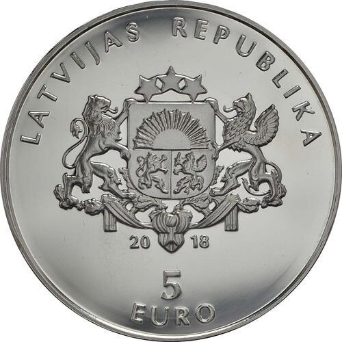 Rückseite:Lettland : 5 Euro Mein Lettland - meine Sonne  2018 PP