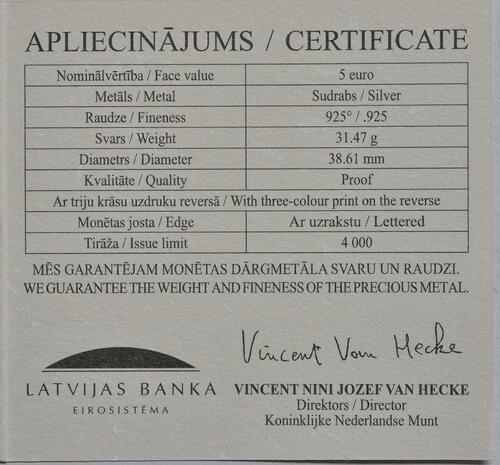 Zertifikat:Lettland : 5 Euro Mein Lettland - meine Sonne  2018 PP