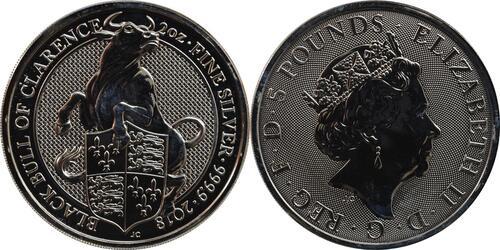 Lieferumfang:Großbritannien : 5 Pfund The Queens Beasts - Black Bull  2018 Stgl.