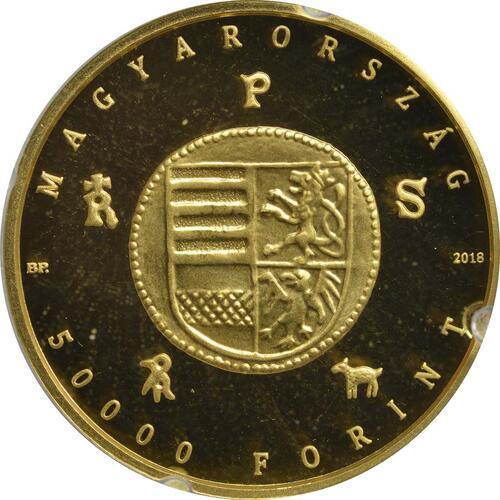 Rückseite:Ungarn : 50000 Forint Goldflorin von Albert von Habsburg  2018 Stgl.