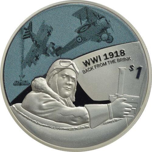 Vorderseite:Neuseeland : 1 Dollar Luftwaffe - 5 Jahres Serie WW1  2018 PP