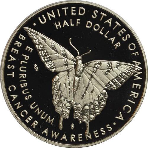 Rückseite:USA : 1/2 Dollar Brustkrebsvorsorge  2018 PP