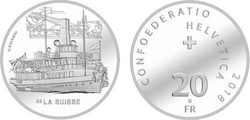 Lieferumfang :Schweiz : 20 Franken Dampfschiff La Suisse  2018 PP
