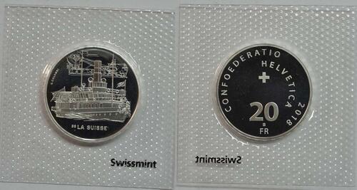 Lieferumfang :Schweiz : 20 Franken Dampfschiff La Suisse  2018 Stgl.