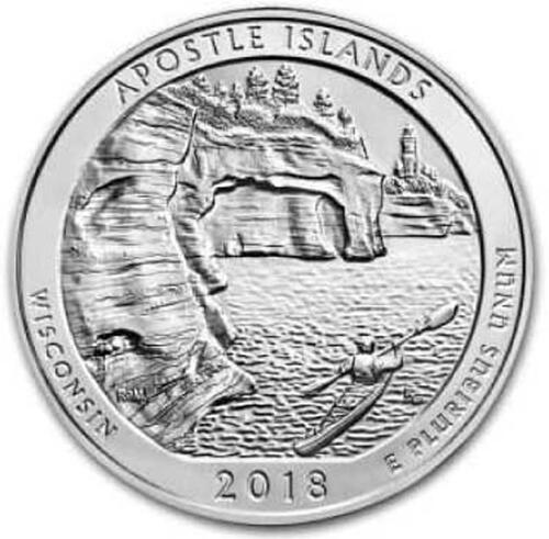 Lieferumfang :USA : 25 Cent Apostle Islands National Lakeshore - Wisconsin  2018 Stgl.