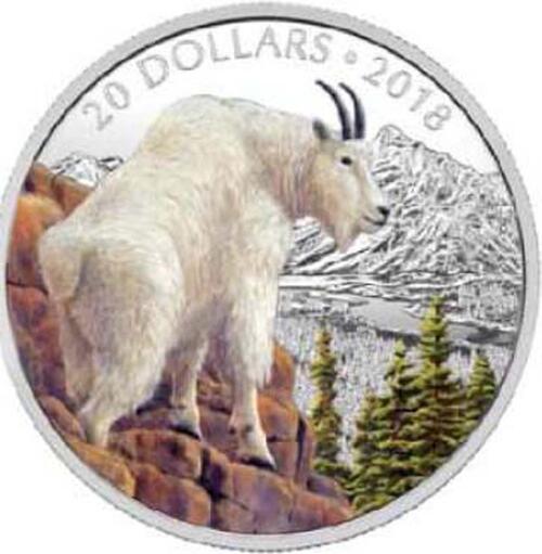 Lieferumfang:Kanada : 20 Dollar Majestätische Tierwelt - Die mutige Bergziege  2018 PP