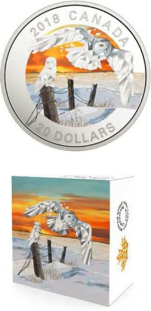 Lieferumfang :Kanada : 20 Dollar Schneeeule - Geometric Fauna  2018 PP