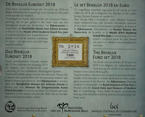 Zertifikat:Belgien : 11,64 Euro KMS Benelux  2018 Stgl.