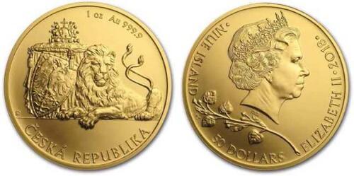 Lieferumfang:Niue : 50 Dollar Tschechischer Löwe  2018 Stgl.