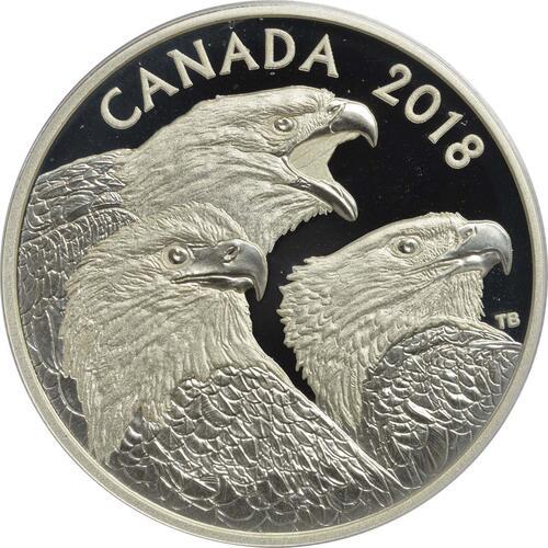 Vorderseite:Kanada : 15 Dollar Prachtvolle Weißkopfseeadler  2018 PP