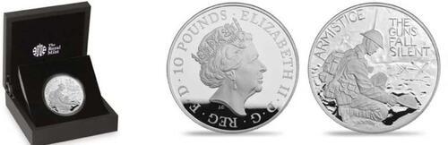 Lieferumfang :Großbritannien : 10 Pfund 100 Jahre Waffenstillstand  2018 PP