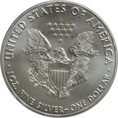 Rückseite:USA : 1 Dollar Silber Eagle - 60 Jahre NASA - Gemini  2018 Stgl.
