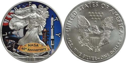 Lieferumfang:USA : 1 Dollar Silber Eagle - 60 Jahre NASA - Gemini  2018 Stgl.