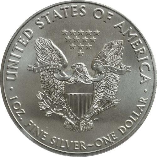 Rückseite:USA : 1 Dollar Silber Eagle - 60 Jahre NASA - Mercury  2018 Stgl.