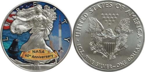 Lieferumfang :USA : 1 Dollar Silber Eagle - 60 Jahre NASA - Mercury  2018 Stgl.