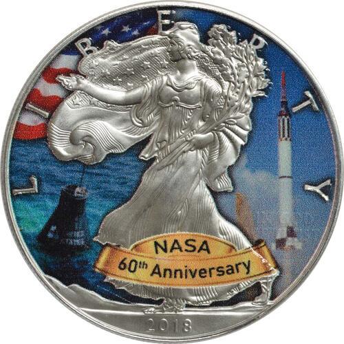 Vorderseite:USA : 1 Dollar Silber Eagle - 60 Jahre NASA - Mercury  2018 Stgl.