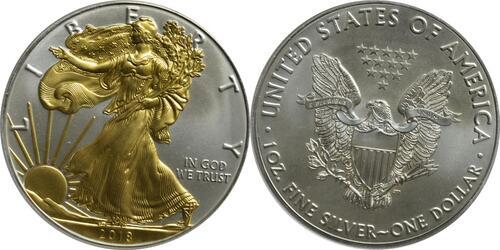 Lieferumfang:USA : 1 Dollar Silber Eagle - teilvergoldet  2018 Stgl.