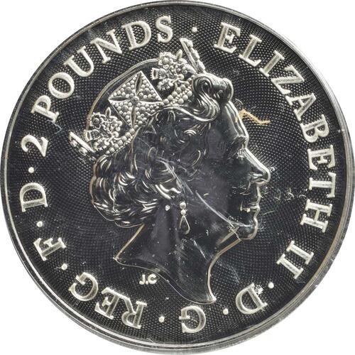 Rückseite:Großbritannien : 2 Pfund Two Dragons  2018 Stgl.