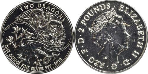 Lieferumfang:Großbritannien : 2 Pfund Two Dragons  2018 Stgl.