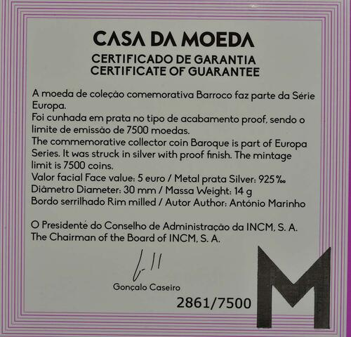 Zertifikat:Portugal : 5 Euro Barock und Rokoko  2018 PP