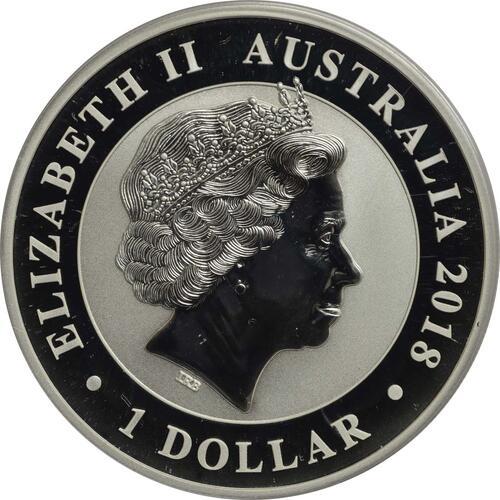 Rückseite:Australien : 1 Dollar Schwan  2018 Stgl.