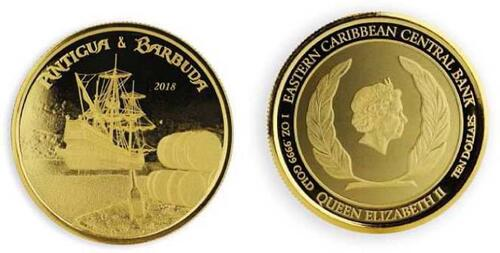 Lieferumfang :Antigua und Barbuda : 10 Dollar Rum Runner  2018 Stgl.