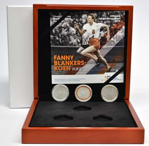 Lieferumfang:Niederlande : 5 Euro 3x5 Euro Fanny Blankers-Koen Prestige Set coloriert  2018 PP