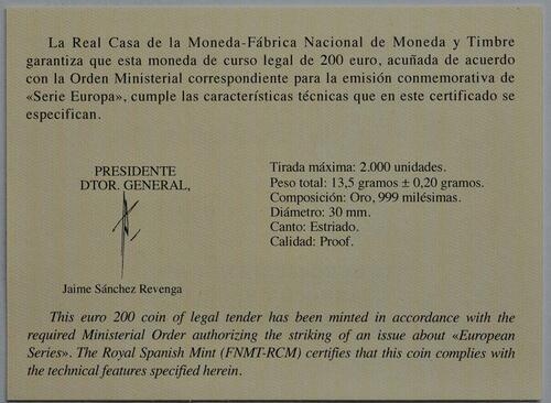 Zertifikat:Spanien : 200 Euro Barock und Rokoko  2018 PP