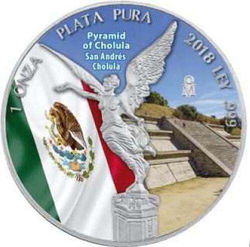 Lieferumfang :Mexiko : 1 Onza Siegesgöttin - Pyramide von Cholula  2018 Stgl.