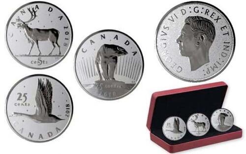 Lieferumfang:Kanada : 55 Cent Münzentwürfe von E. Hahn - 3er Set - 2x 25 Ct + 1x 5 Ct  2018 PP
